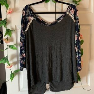 Off The Shoulder Floral Long Sleeve Tee